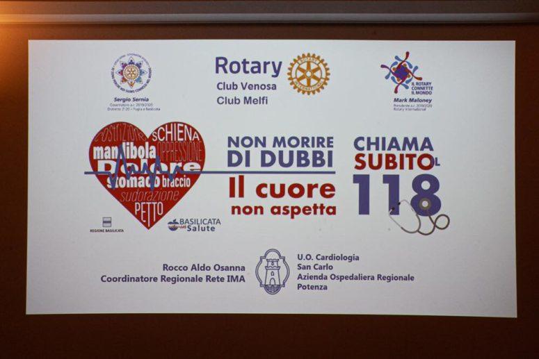 """Inter Club Rotary Venosa – Melfi    """"Non morire di dubbi, il cuore non aspetta, chiama il 118"""""""
