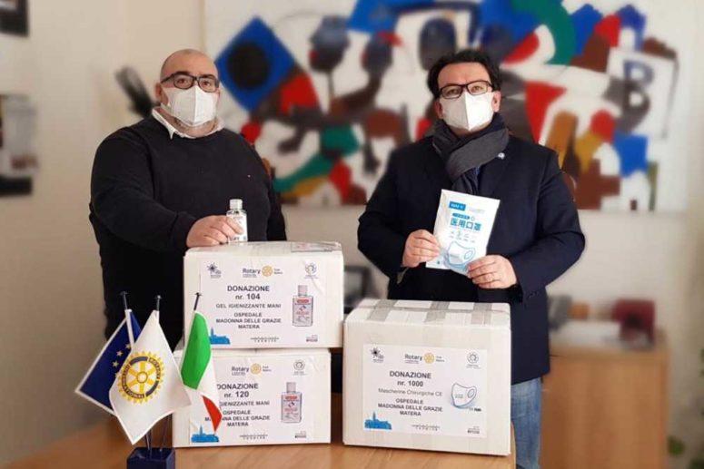 """Rotary Club Matera dona Mascherine e Gel disinfettanti all'Ospedale Madonna delle Grazie di Matera"""