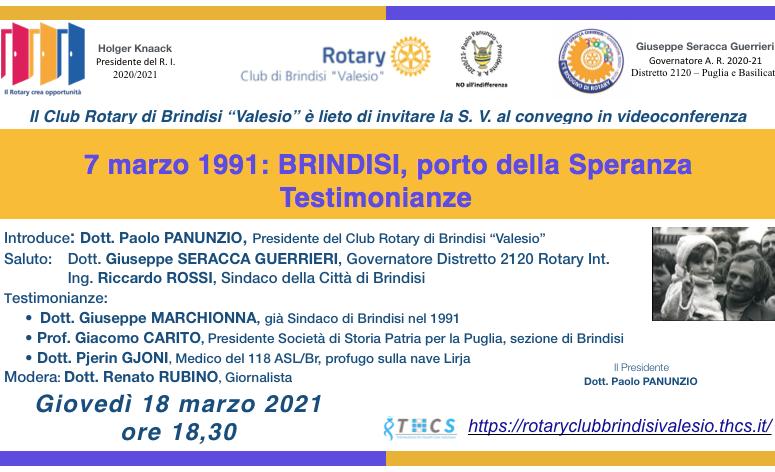 R.C. BRINDISI VALESIO. 7 MARZO 1991: BRINDISI, PORTO DELLA SPERANZA