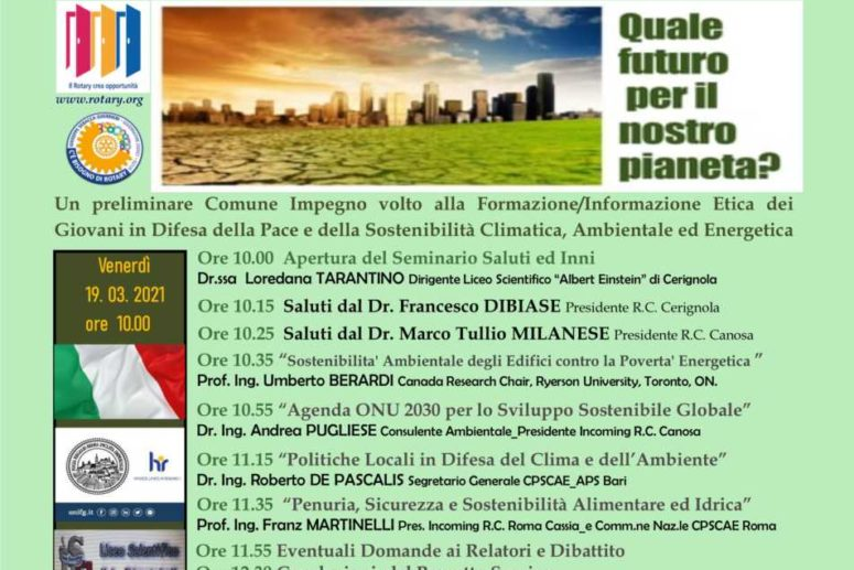IL ROTARY CLUB DI CERIGNOLA SI INTERROGA SUL FUTURO DEL PIANETA